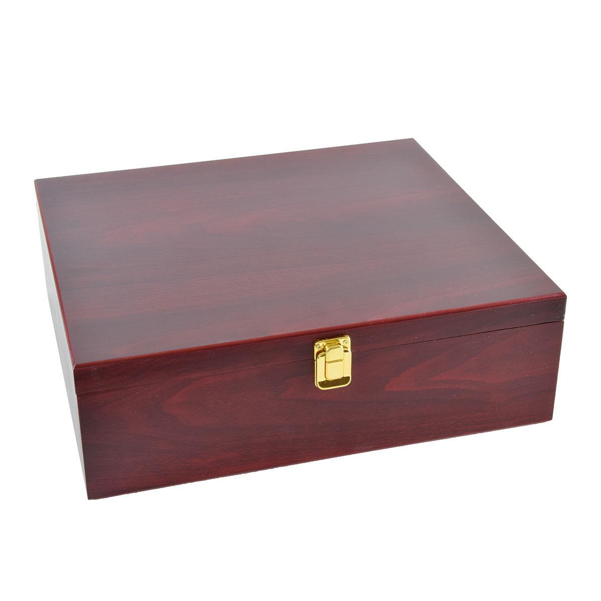 Ξύλινο κουτί με αξεσουάρ για κρασί 3 φιαλών