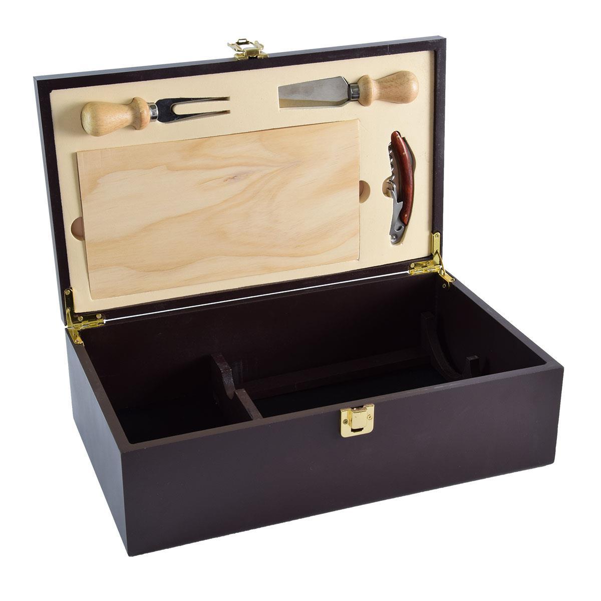 Ξύλινο κουτί με αξεσουάρ τυριού 2 φιαλών